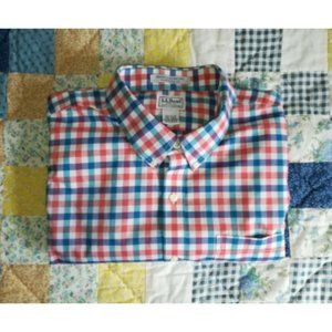 LL Bean Wrinkle Resistant L/S Checked Button Shirt